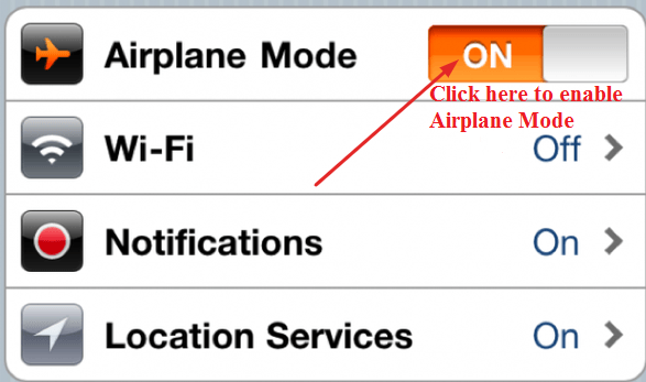 Enable Airplane Mode
