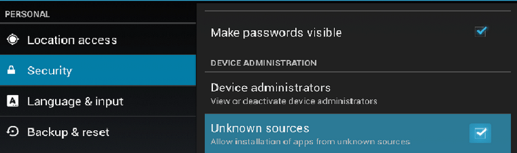 Enable unknown sources on your device