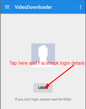 Login on MyVideoDownloader with Facebook login details