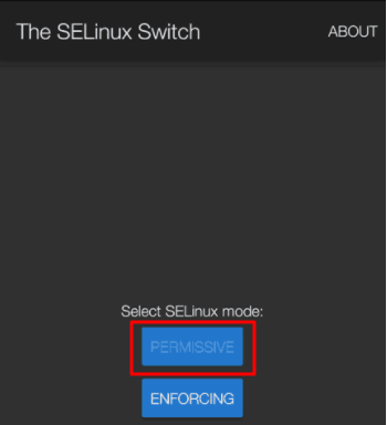 Select SELinux permissive mode