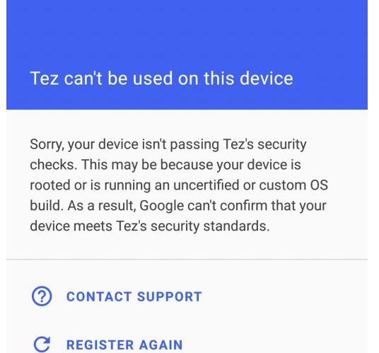 Tez cannot be used