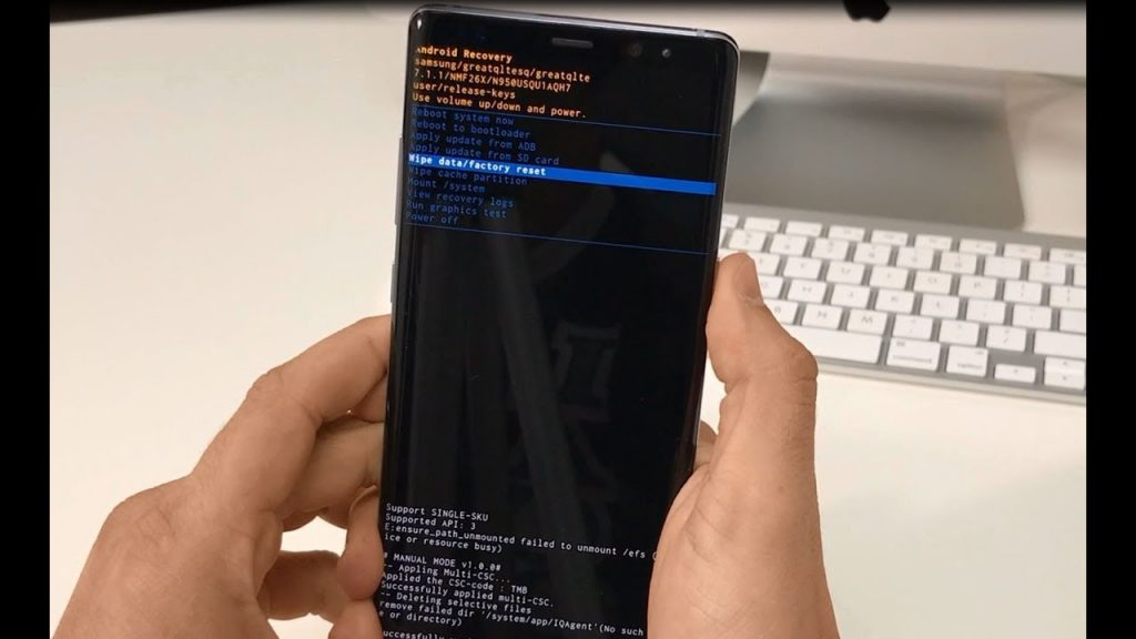 How to reset the Samsung Galaxy Note 9 from the recovery mode