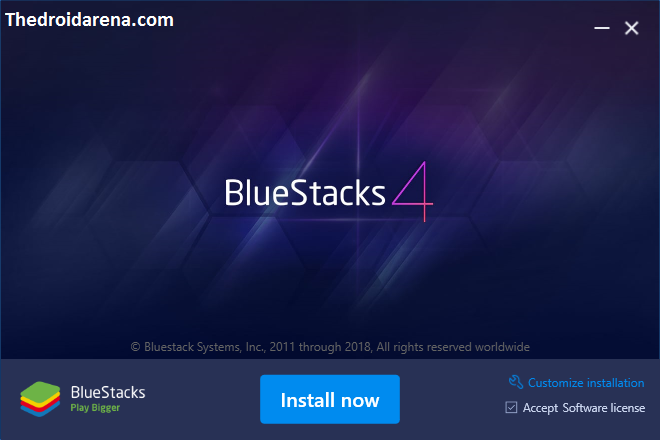 Start BlueStacks 4 installation process
